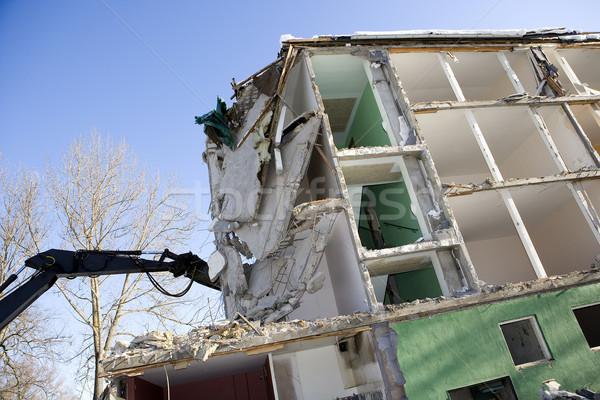 Huis vernietiging beneden appartement stad bouw Stockfoto © gemenacom