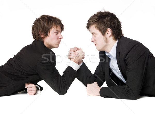 Arm worstelen handen pak shirt spel sterke Stockfoto © gemenacom