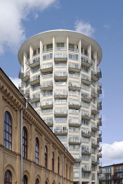 Stok fotoğraf: Modern · bina · mavi · gökyüzü · inşaat · tuğla · mimari · gayrimenkul