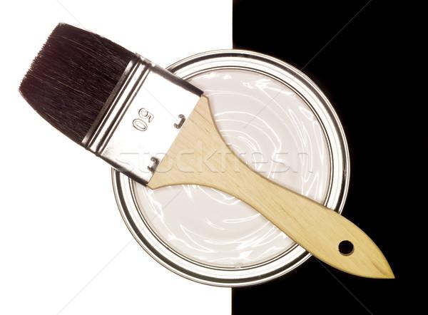 Festékes flakon ecset feketefehér terv festék fekete Stock fotó © gemenacom