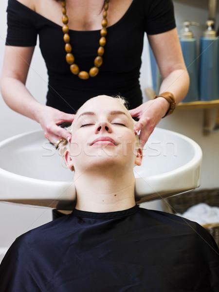 ストックフォト: 洗濯 · 髪 · ヘアドレッサー · 笑顔