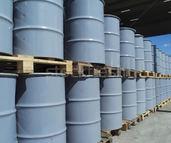 Olie drums Blauw industrie trommel Stockfoto © gemenacom