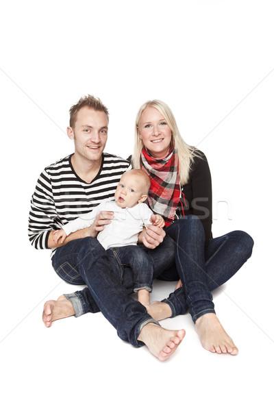 Zdjęcia stock: Szczęśliwą · rodzinę · portret · odizolowany · biały · baby · szczęśliwy