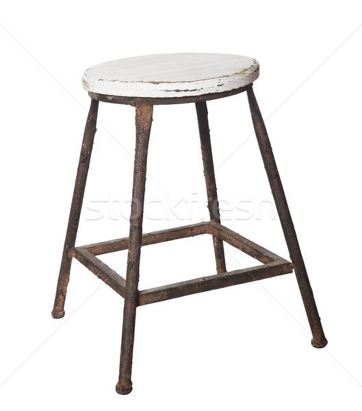 Elnyűtt klasszikus zsámoly izolált fehér bútor Stock fotó © gemenacom
