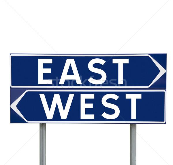 Запад синий направлении признаков выбора изолированный Сток-фото © gemenacom