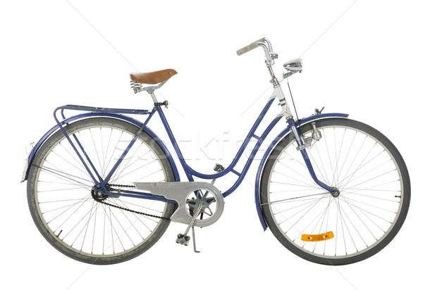 синий старомодный велосипед изолированный белый черный Сток-фото © gemenacom