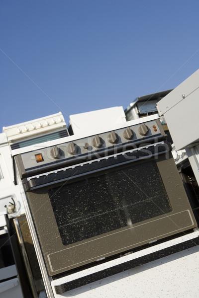 Mutfak cihaz çöp mavi gökyüzü doğa Metal Stok fotoğraf © gemenacom