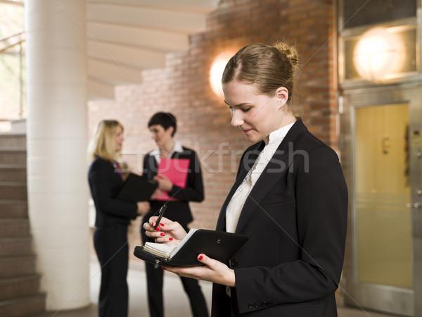 Photo stock: Femme · lecture · calendrier · femmes · lettre · travail