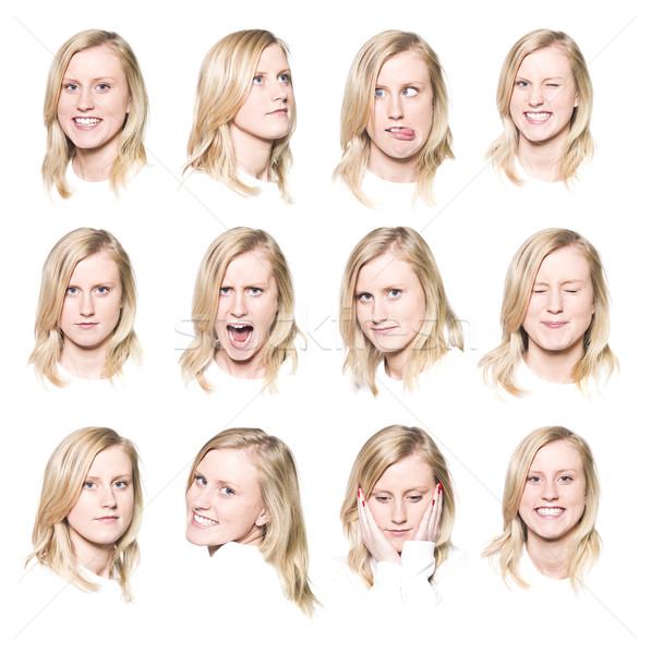 Twaalf portretten jonge vrouw verschillend gezichtsuitdrukkingen meisje Stockfoto © gemenacom