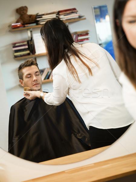 Férfi szépségszalon fiatalember nő tükör női Stock fotó © gemenacom