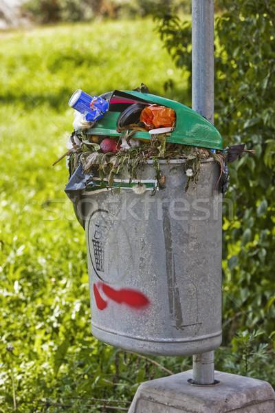 Full Trash bin outdoor Stock photo © gemenacom
