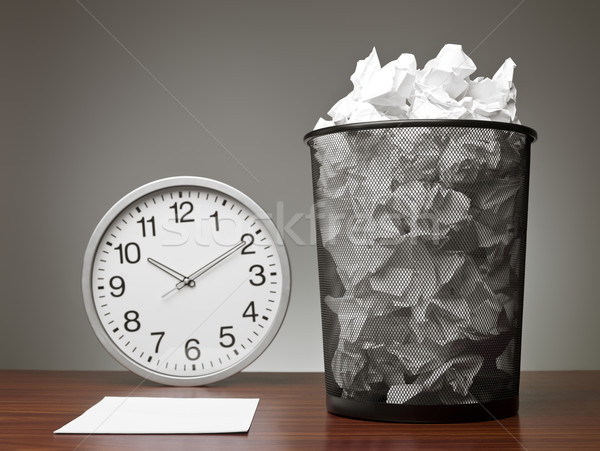 Recycle Bin and a clock Stock photo © gemenacom