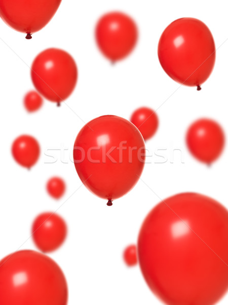 Kırmızı balonlar birkaç yalıtılmış beyaz balon Stok fotoğraf © gemenacom