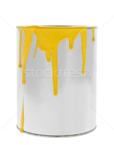 Rendetlen citromsárga festékes flakon izolált fehér festék Stock fotó © gemenacom
