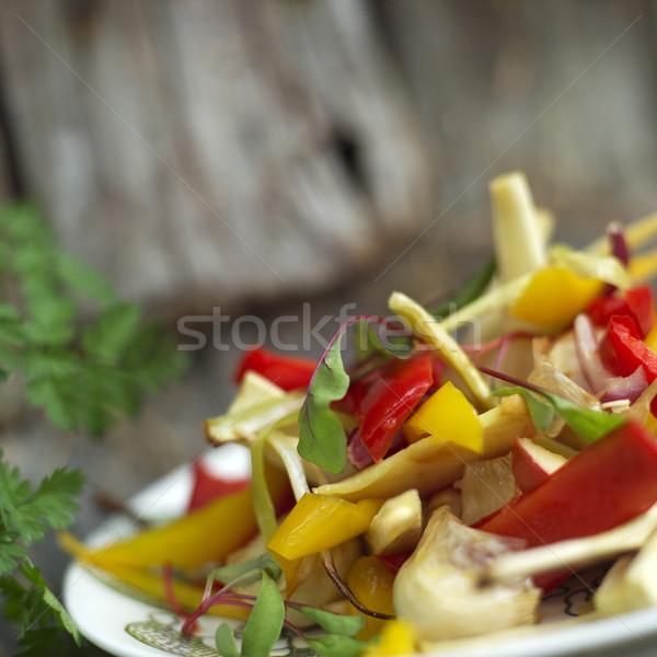 Paprika saláta közelkép étel tyúk bors Stock fotó © gemenacom