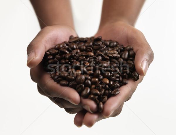 Chicchi di caffè mani grande gruppo cafe bean Foto d'archivio © gemenacom