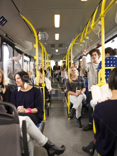 Mensen bus meisje vrouwen tijd Stockfoto © gemenacom