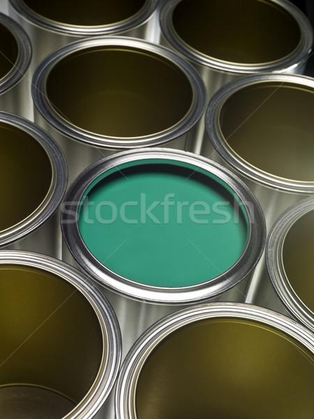 Zöld festékes flakon festék full frame egy fém Stock fotó © gemenacom