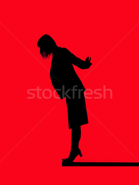 Silhouette of a woman close to fall down Stock photo © gemenacom
