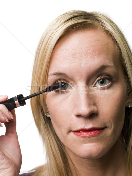 Kobieta tusz do rzęs twarz farby kobiet biały Zdjęcia stock © gemenacom