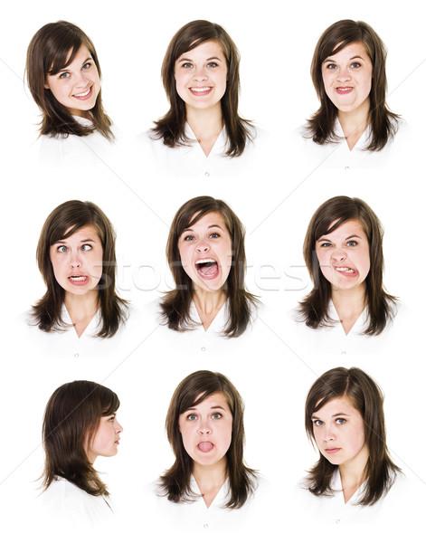 Dziewięć portrety kobieta młoda kobieta odizolowany biały Zdjęcia stock © gemenacom