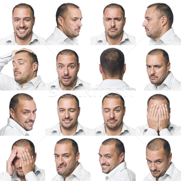Sixteen facial expressions of a man Stock photo © gemenacom