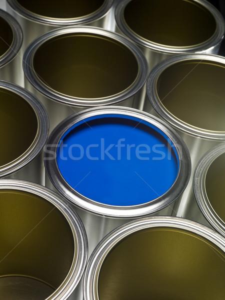 Kék festékes flakon festék full frame egy fém Stock fotó © gemenacom