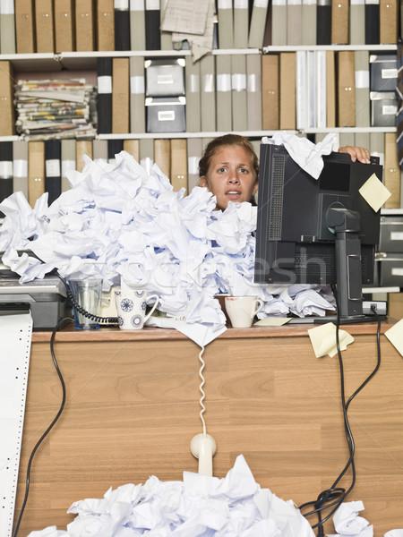 Foto stock: Empresária · documentos · confuso · escritório · negócio · menina