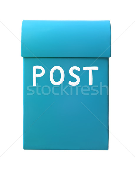 Açık mavi posta kutusu yalıtılmış beyaz ofis kutu Stok fotoğraf © gemenacom