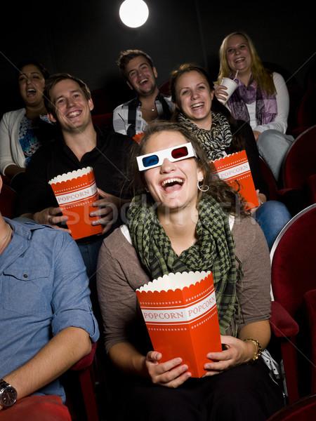 śmiechem kobieta film teatr film tłum Zdjęcia stock © gemenacom