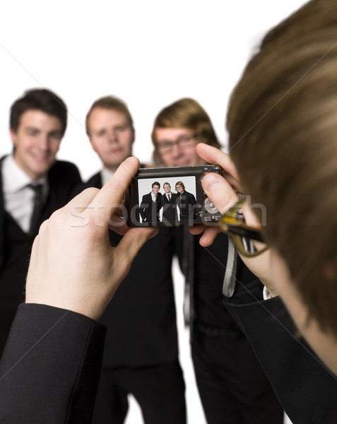 человека фотографий друзей заседание счастливым Сток-фото © gemenacom