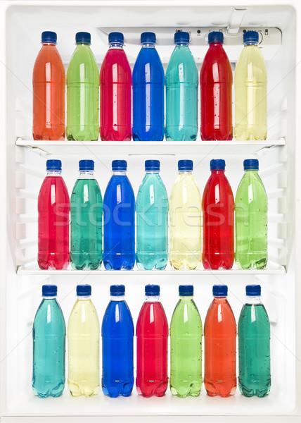 Stockfoto: Flessen · koelkast · verschillend · kleuren · Blauw · drinken