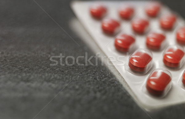 Blister pack of Red medicine pills Close up Stock photo © gemenacom