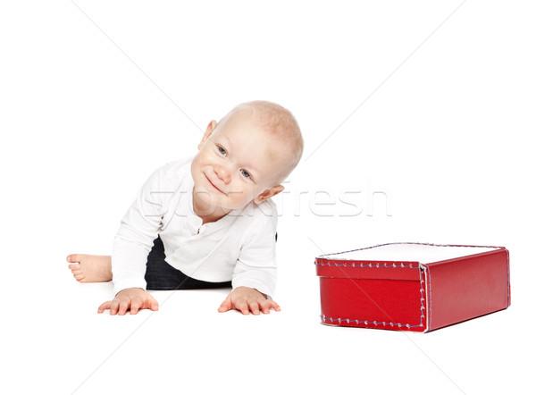Jongen Rood lunchbox geïsoleerd witte baby Stockfoto © gemenacom