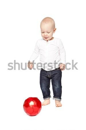 Stock fotó: Fiú · játszik · piros · labda · izolált · fehér