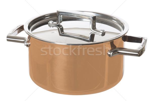 Błyszczący rondel odizolowany biały żywności metal Zdjęcia stock © gemenacom