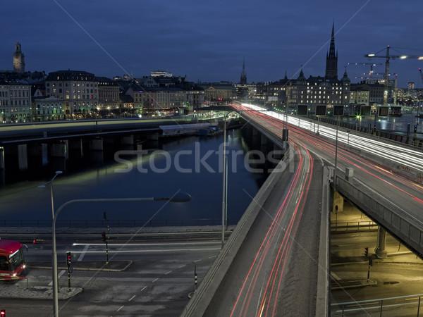 Auto-estrada tiro longa exposição tempo linha do horizonte carro Foto stock © gemenacom