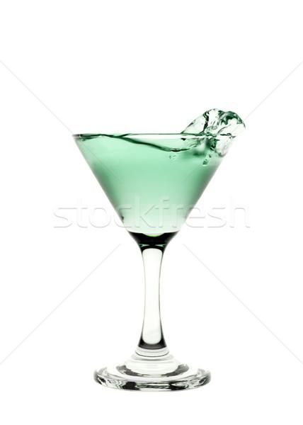 Stock fotó: Zöld · folyadék · csobbanás · martinis · pohár · izolált · fehér