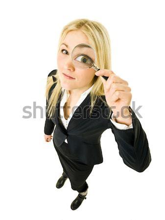 Mulher vidro empresária lupa ver Foto stock © gemenacom