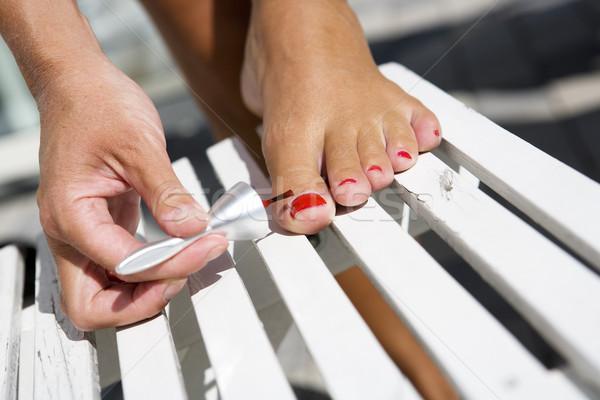 Живопись палец ногти женщину красный Сток-фото © gemenacom