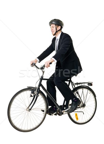 Adam bisiklet genç yalıtılmış beyaz mutlu Stok fotoğraf © gemenacom