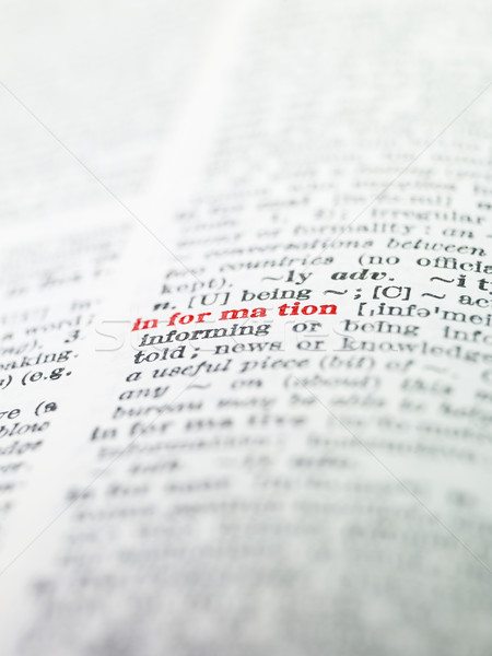 The word 'information' highlighted in a dictionary Stock photo © gemenacom