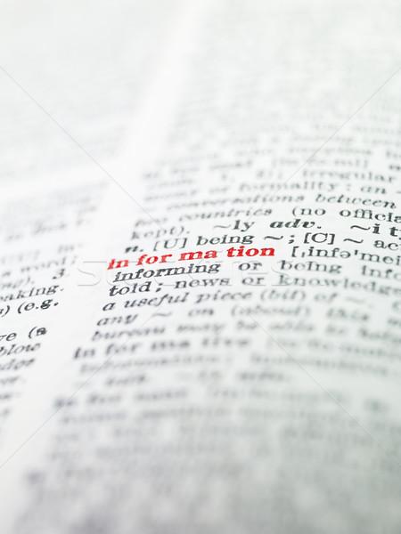 Mot informations dictionnaire papier livre rouge Photo stock © gemenacom