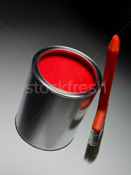 Piros festékes flakon ecset festmény fehér folyadék Stock fotó © gemenacom