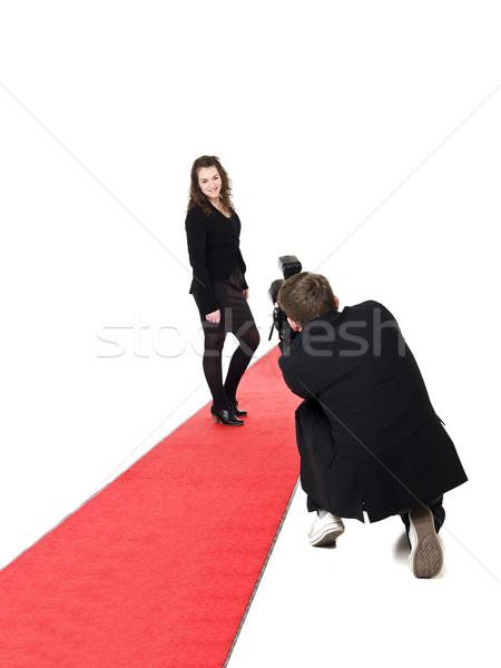 Fotograaf model foto's vrouw poseren Stockfoto © gemenacom