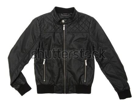 Negro chaqueta de cuero aislado blanco ropa fotografía Foto stock © gemenacom
