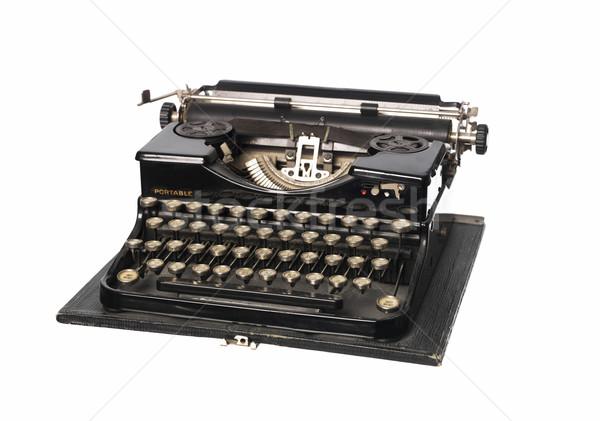 Vintage máquina de escrever preto estúdio fundo branco Foto stock © gemenacom