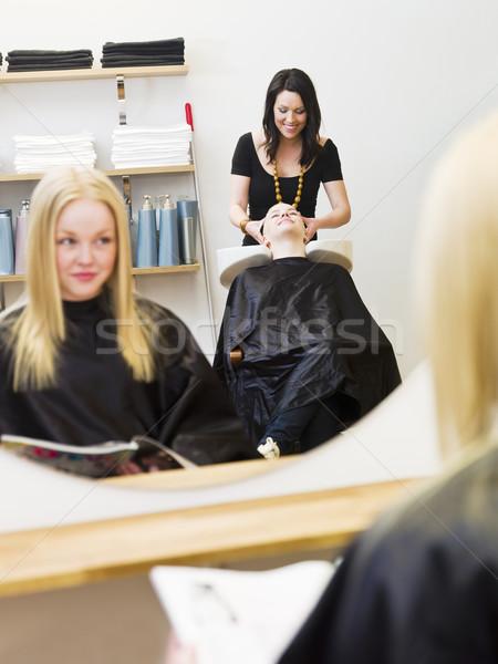 Stockfoto: Kapsalon · situatie · stoel · lezing · tiener · magazine