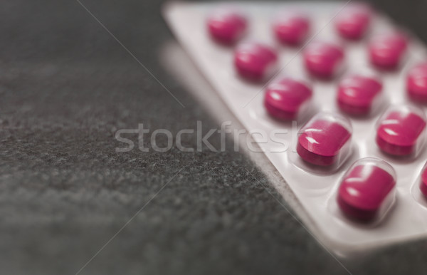 Blister pack of Pink medicine pills Close up Stock photo © gemenacom