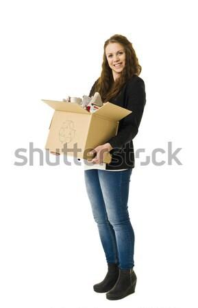 Papír újrahasznosítás nő izolált fehér boldog Stock fotó © gemenacom